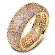 Súper Anillo de Compromiso zirconia 2017 venta caliente joyería de la boda de la moda femenina anillo de diamantes CZ 18 k oro verdadero plateado mujeres anillo