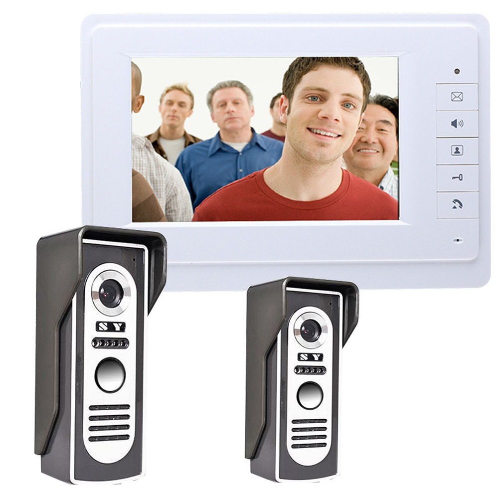 7 Wired TFT Video Door Phone Doorbell Handfree Intercom System 2-camera 1-monitor Night Vision Camera Electric lock-control 7 inch color tft lcd wired video door phone home doorbell intercom camera system with 1 camera 1 monitor support night vision
