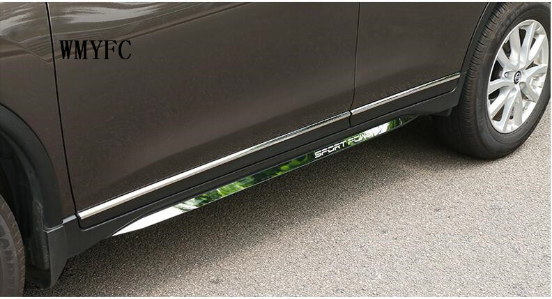 For Nissan X-Trail Rogue 2014 - 2017 stainless steel Door Body Molding Lid Strip Cover Trims Boot Protector 4Pcs Car Styling