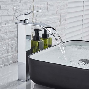Image 2 - Square Chrome and Black  Waterfall Basin Sink Faucet Bathroom Mixer Tap Wide Spout Vessel Sink Fauet Hot Cold Water Tap