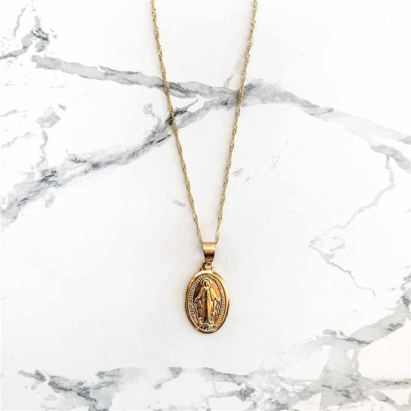 Nowa maryja dziewica Choker naszyjniki dla kobiet biżuteria srebrny naszyjnik Femme krzyż łańcuch naszyjniki kobiece oświadczenie naszyjnik
