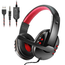 Купить с кэшбэком Gaming Headphones casque XB733 EACH Best Computer Stereo Deep Bass Game Earphone Headset with Mic with LED for PC PS4 Xbox One