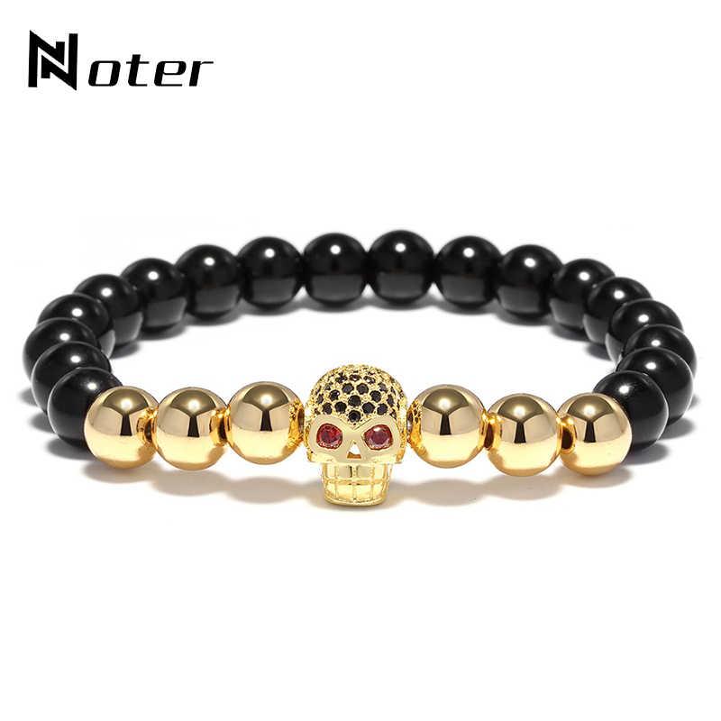 618e9550f810 Noter 4 Color Copper Skull Bracelet Luxury Zirconia Black Natural Stone  Beads Braclet For Men Hand