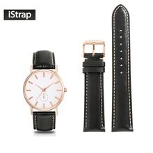Isap pulseira 18mm 19mm 20mm 21mm 22mm couro genuíno pulseira preta com ponto bege rosa ouro pino fivela para relógio feminino masculino