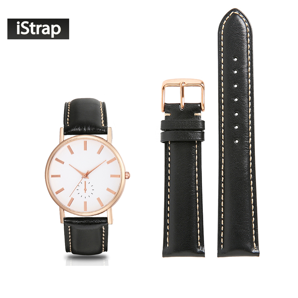 все цены на iStrap Watchband 18mm 19mm 20mm 21mm 22mm Genuine Leather Black Strap With Beige Stitch Rose Gold Pin Buckle For Men Women Watch онлайн