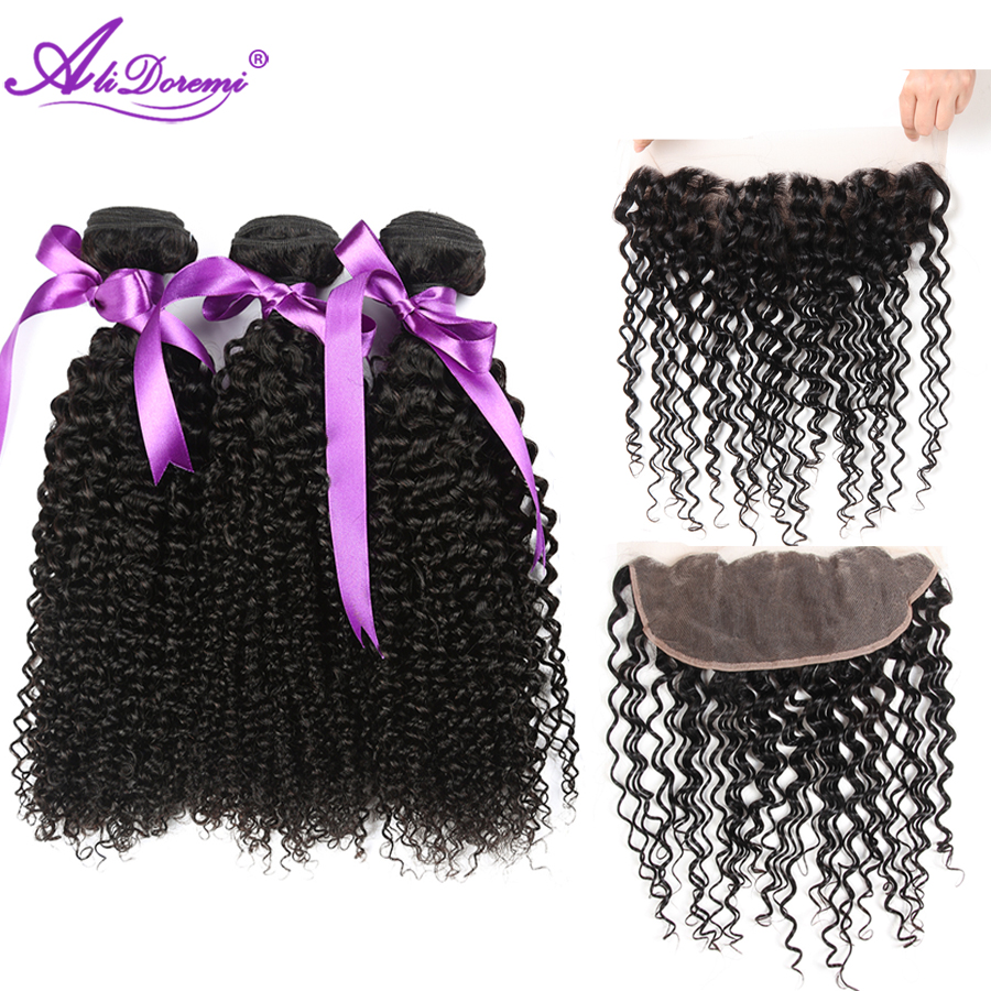 Alidoremi Malaysian kinky curly hair 3 Bundles With Lace Frontal Closure Hair Weave Bundles Non Remy Human Hair Free Shipping
