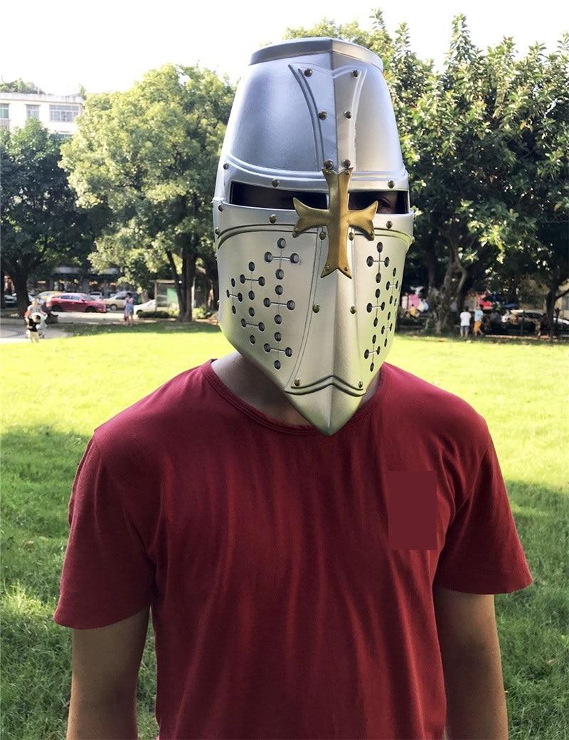 Medieval Crusader Knight Helmet Cosplay Hospitaller Templar Knights Helmet Mask Gothic Cross LARP Cosplay Props Halloween Party