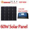 DOKIO Brand 60W 18 Volt Black Solar Panel China 10A 12 24 Volt Controller 60 Watt