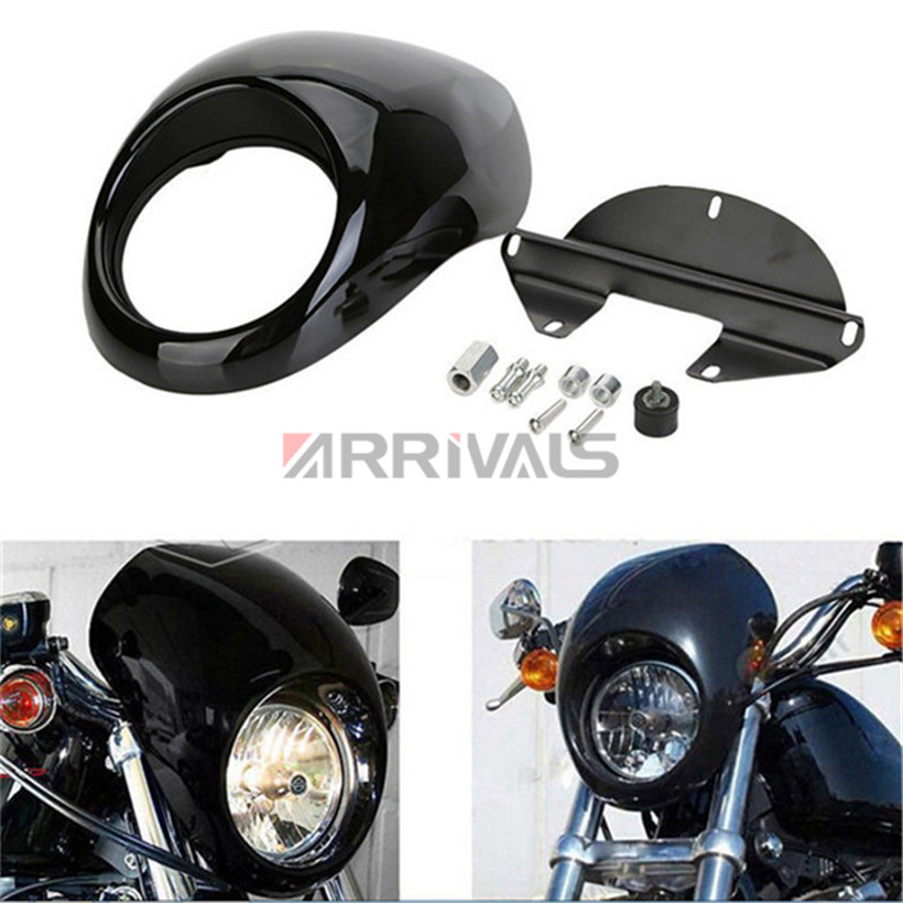 Motorcycle Black Headlight Fairing For Harley 883 48 1200 Front Fork Mount Dyna Sportster XLCH gloss black front cowl fork mount headlight fairing visor grill mask for harley sportster dyna xl fx 883 freeshipping d30 page 10