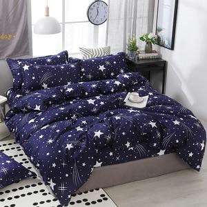 Image 5 - Funbaky 3/4pcs/Set Purple Cartoon Cloud Cotton Comforter Kids Bedding Set Pillowcase/Bed Sets Bed Linen No Filler Home Textile