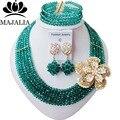 De moda de Nigeria Boda perlas africanas joyería conjunto Verde Del Ejército collar pendientes pulsera de cristal Envío gratis Majalia-077