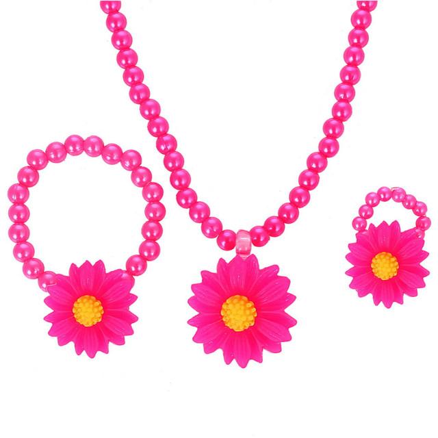 ZOSHI Handmade Baby photography Jewelry Set Flower Pendant Necklace Bracelet Ring Set Kids Jewelry Set Children Accessories