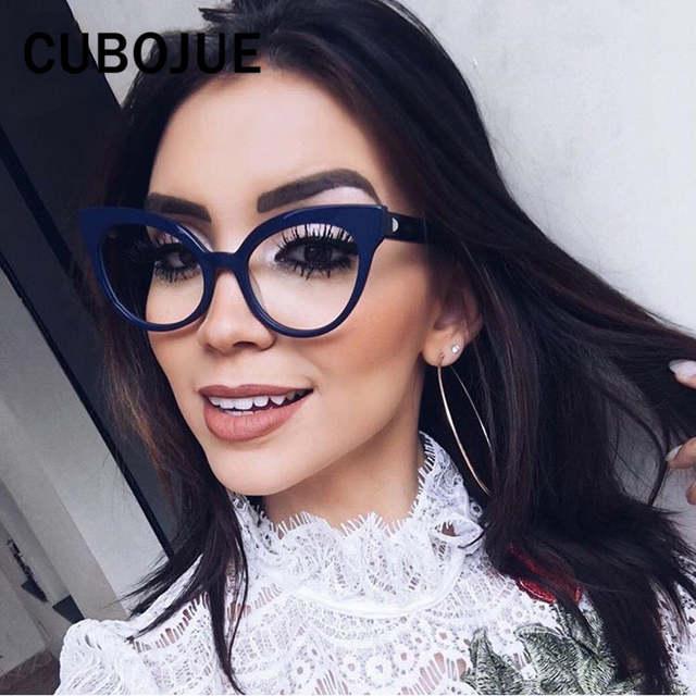 ab2d1305b7c1a placeholder Cubojue Mulher Olho de Gato Do Vintage Óculos Retro Quadro  Cateye para Pontos de Grau do