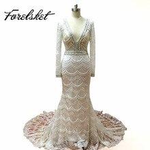 인어 웨딩 드레스 2017 레이스 신부 가운 긴 소매 고품질 전신 자수와 무거운 구슬 V 목