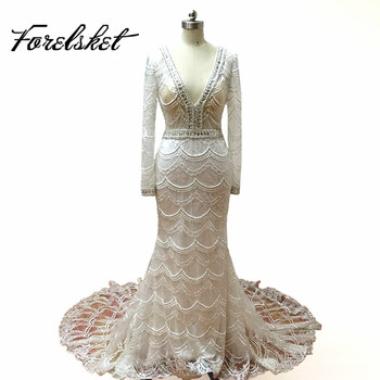 d2f8370d87626 Mermaid embroidery lace Wedding Dresses 2017 lace bridal gown long sleeves  High-quality whole body