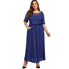 Plus Size 5XL Sexy Lace Crochet Drawstring Maxi Dress Women Vintage Chiffon Blue Beach Dress Robe Big Size