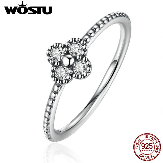 New Arrival 100% 925 Sterling Silver Blossom Finger Rings With Clear CZ For Wome