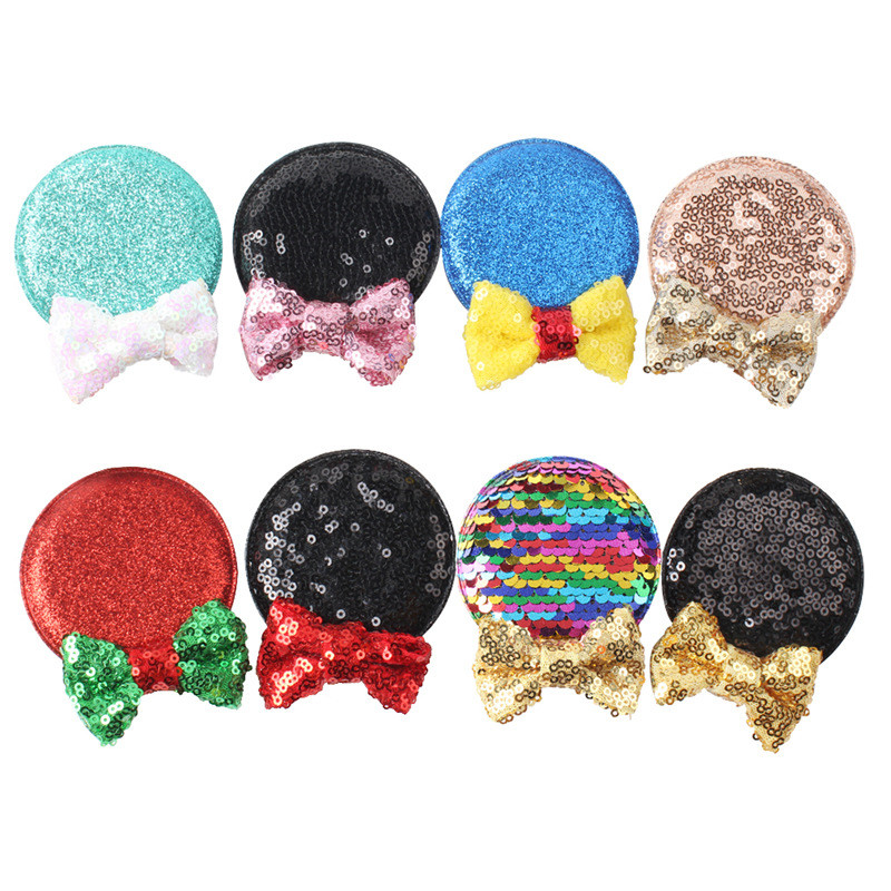 1 Pair Glitter Minnie Ears Hairgrips Christmas Party Hair Clips For Kids Hair Accessories Sequin Bow Minnie Mouse Ear For Girls