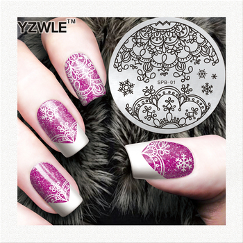 Flower Christmas Vintage Pattern Stamping Nail Art Image Plate 5.6cm Stainless Steel Template Polish Manicure Stencil Tool image