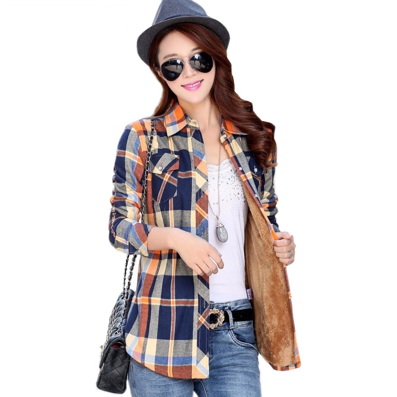 Velvet Thick Warm Women's Plaid Shirt Female Long Sleeve Tops M-XXL Size Winter Check Blouse Blusas Femininas Chemise Autumn