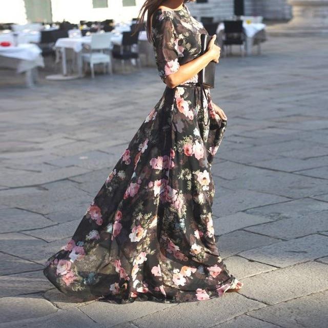 Vintage Style Floral Women Long Dresses Quarter Sleeve Womens Chiffon Dress High Waist Maxi Dress Boho Dress Vestidos Plus Size