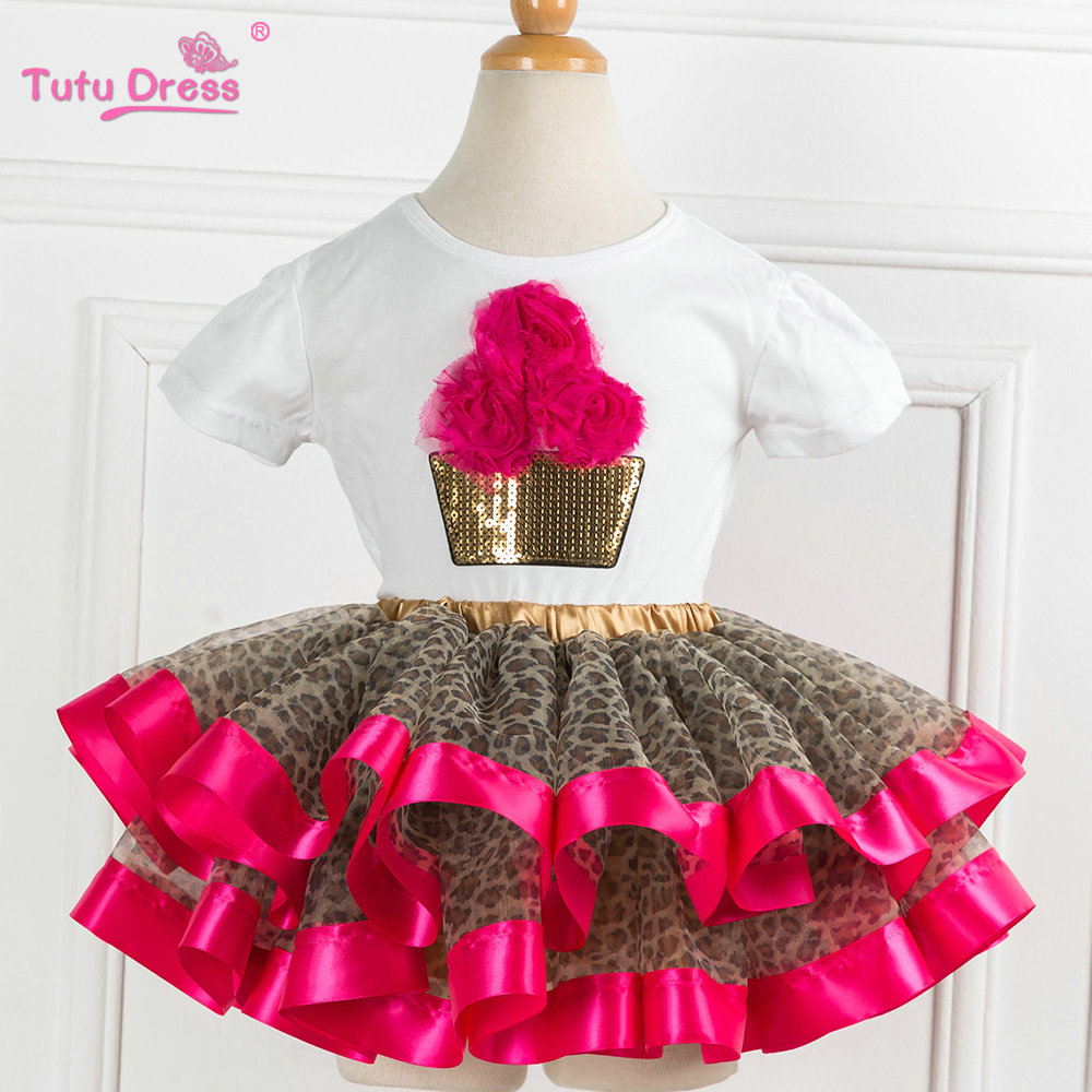 Lovely Girls White Tee Shirt and Leopard Skirt Girls Summer Tutu Set Kids Girl Autmn Children Clothing Sets