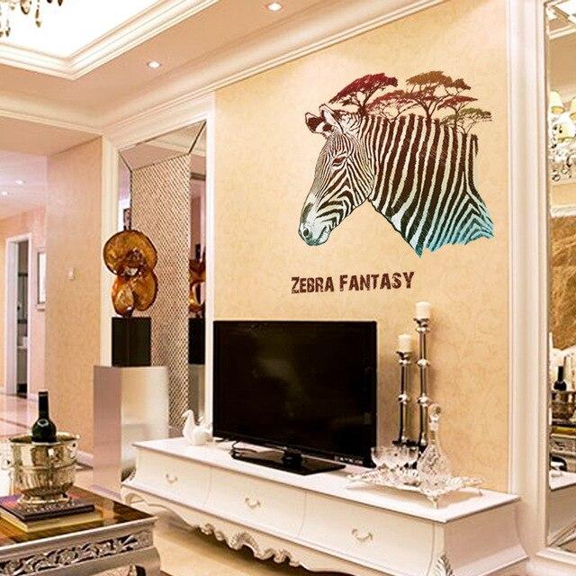 Aliexpress.com : Buy 1Pcs 50*70cm Zebra Fantasy Wall Sticker ...