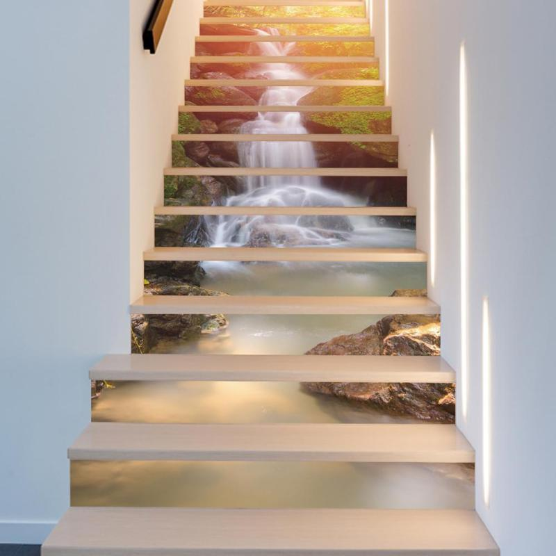 13pcs Waterfall Landscape Stairway Stickers Stairs Floor Wall Decor Decals For Kitchen Living Room In From Home Garden