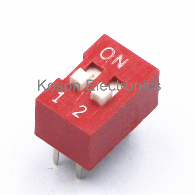 5Pcs DIP Switch 2 Way 2.54mm Toggle Switch Red Snap Switch