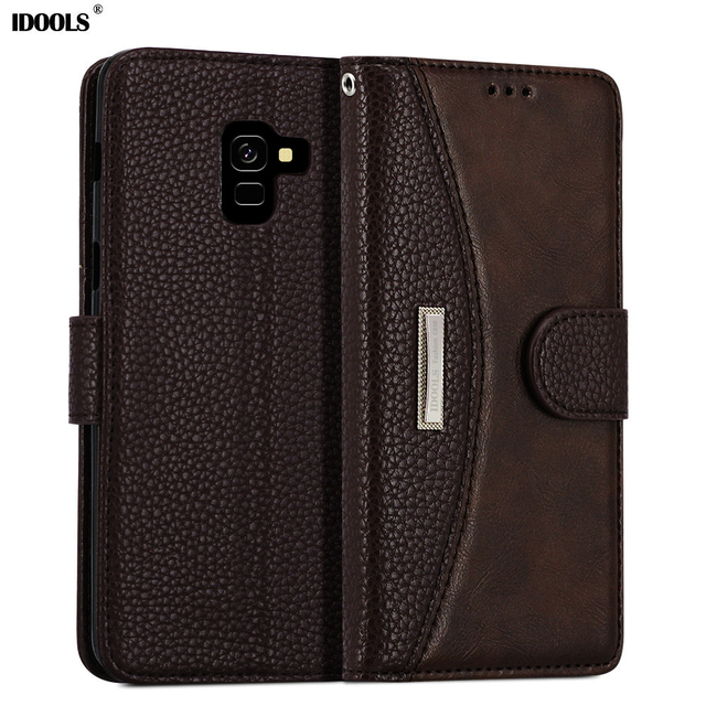 innovative design 25777 5ac5a US $10.99 |IDOOLS PU Leather Case For Samsung galaxy A6 Plus A6+ Flip Cover  Luxury Wallet Magnetic For Samsung A6 2018 Phone Shell Coque-in Flip Cases  ...