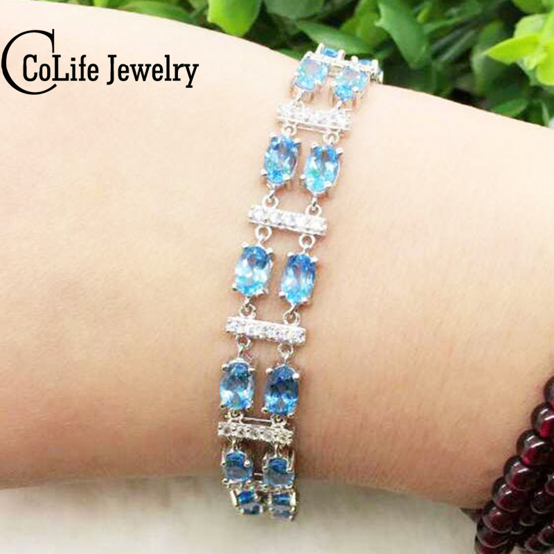 Luxurious double rows silver gemstone bracelet for woman 22 pcs 4*6mm top quality natural topaz gemstone solid silver bracelet hr 105 natural gemstone bracelet amaranth