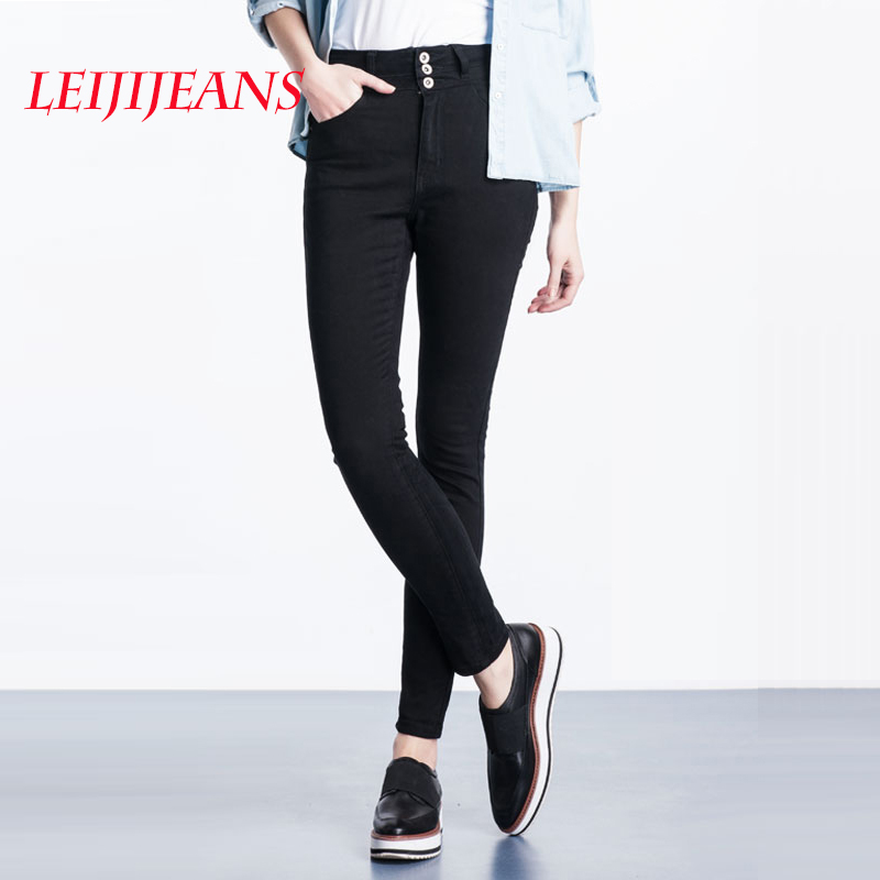 2017 summer fashion brand new styles european american women ladies girls high waist fashion skinny black pencil pants jeans Leiji jeans pencil skinny pants with high waist for women dropping thin jeans summer 2017 women's black jeans high fashion jeans