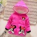 2016 Moda Outono & Inverno Crianças Minnie Hoodies Jacket & casaco Meninas Do Bebê Roupas Crianças Casaco Quente Outwear Toddle Idade 1-3 T
