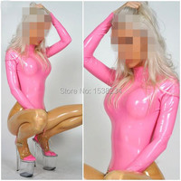 Latex catsuit pink&transparent Latex WOMEN BODYSUIT CUSTOMIZED