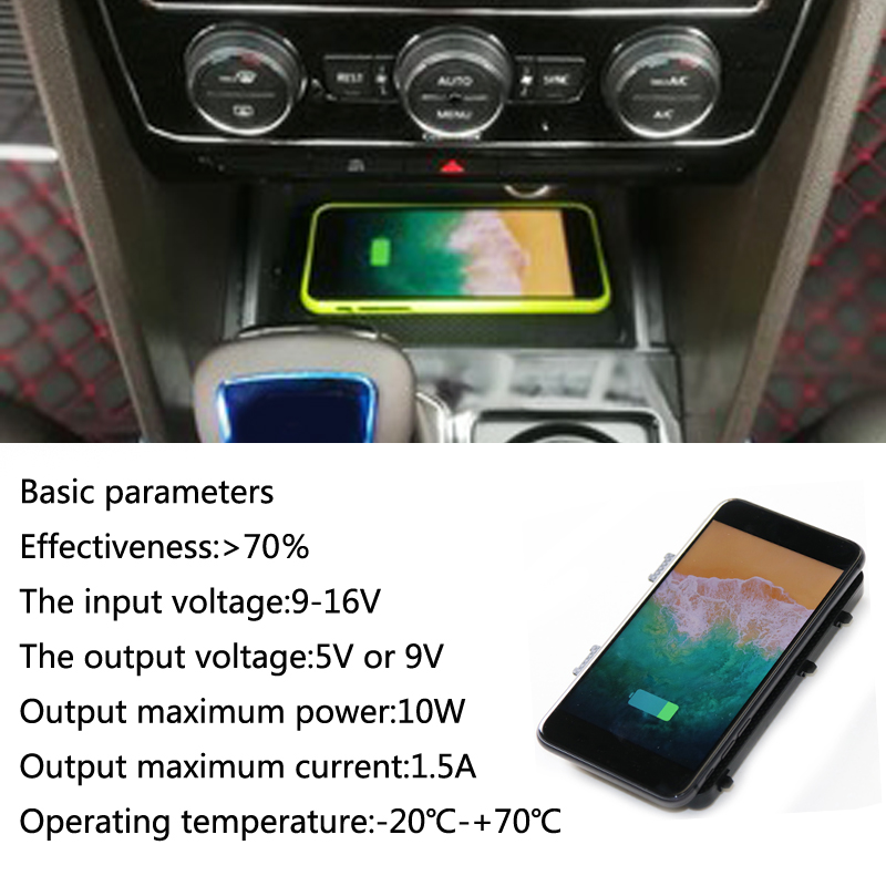 цена For Teramont 2017 2018 car QI wireless charging quick charger fast wireless charging for iPhone X 8 Plus for Samsung S7
