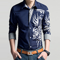 Men Shirt 2016 Fashion Brand Men'S Cuff Striped Long-Sleeved Shirt  Casual Slim Male Printing Shirt large Size 4XL CNSKD