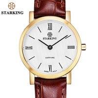 STARKING Women Japan Quartz Movement 2016 New Geneva Gold Case Calfskin Leather Wrist Watch Slim Female Clock Vintage Timepieces