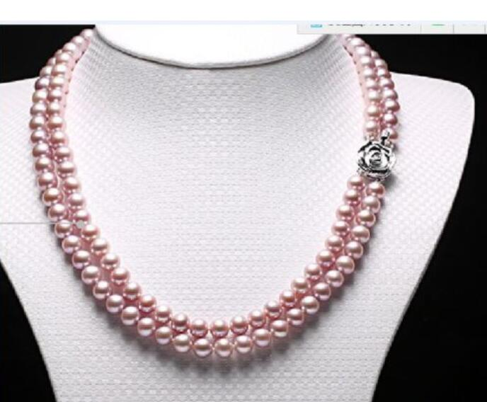 beautiful 2row 9- 10mm round lavender pearl necklace 17-19beautiful 2row 9- 10mm round lavender pearl necklace 17-19