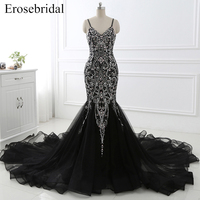 Đen Sexy V-Neck Evening Dress với Long Train Spaghetti Strap Mermaid Backless Evening Gown vestido de festa Đảng Dress YY32