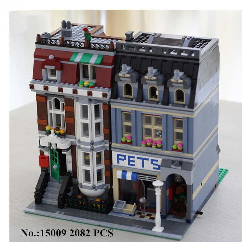 H&HXY 15009 2082pcs City Street Pet Shop Model Building Kits Blocks Bricks BOY Lovely LEPIN Toys DIY Educational Children Gift lepin 15009 city street pet shop model building kid blocks bricks assembling toys compatible 10218 educational toy funny gift