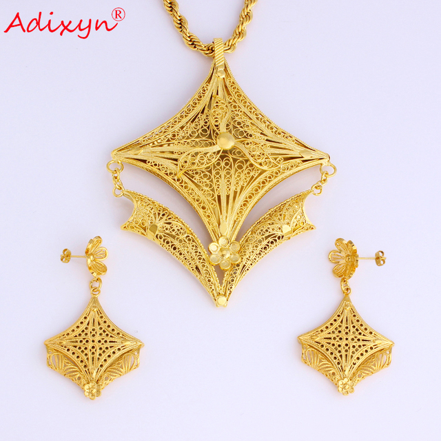 Adixyn Big Size PNG Hyperbole Necklace/Earrings/Pendant Jewelry Set For Women Gold Color/Copper African Wedding Gifts 08081