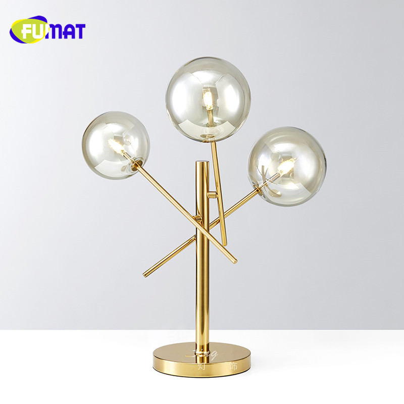 Commercial Table Lamps: FUMAT New Modern Clear Glass Table Lamps Gold Stainless