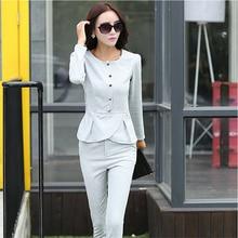 New Korean Style Fashion Women Autumn Suit Slim Elegant Round collar Long-sleeved Pants Suit Women Leisure Office Suit G2013