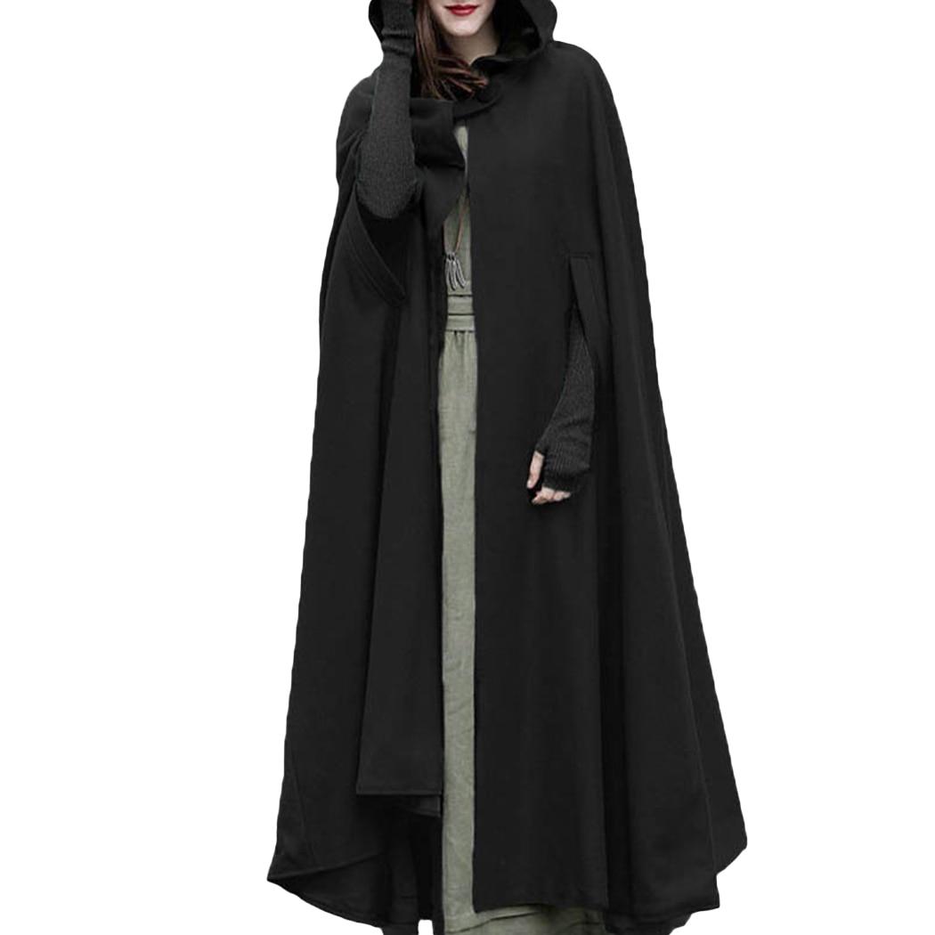 2018 Winter Vintage Womens Hooded Cape Long Cloak Wrap Stole Solid Color Custom Poncho плащи с капюшоном