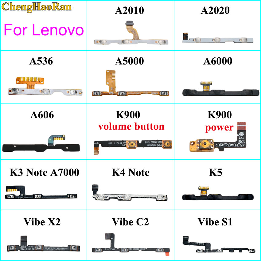 ChengHaoRan For Lenovo A2010 A2020 A5000 A6000 K3 K4 K5 Note K900 Vibe X2 C2 S1 Power On Off Volume Button Key Switch Flex Cable