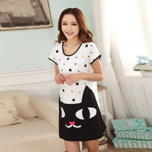 Women Cute Cartoon Printed Sleepwear Loose Nightwear Short Sleeve Sleepshirt Sleeping Shirt Dress