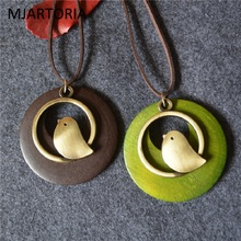 MJARTORIA Fashion Cute Gold Color Catoon Birds Vintage Ethnic Necklaces Wood Round Necklace & Pendants Ladies Jewelry For Women