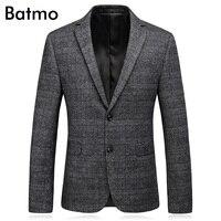 Batmo 2017 New Arrival High Quality Wool Gray Plaid Men S Suits Casual Suit Men Men