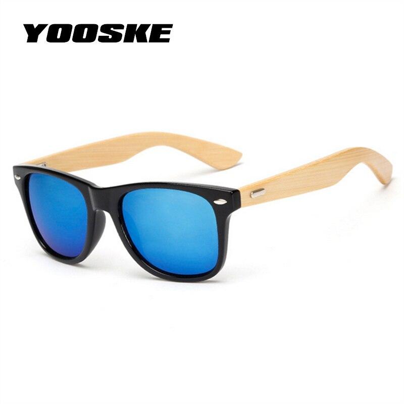 YOOSKE Klassische Vintage Holz Sonnenbrille Männer Frauen Gespiegelt Reflektierende Linse Holz Sonnenbrille Weibliche Bambus Brille