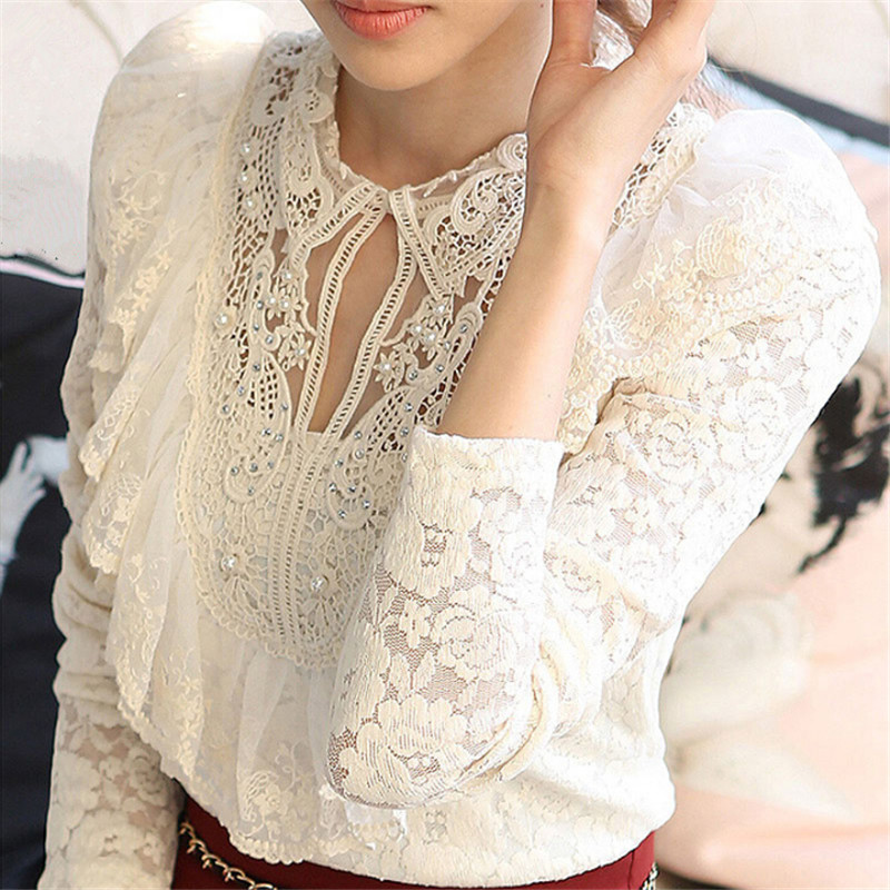 Autumn Winter Women Casual Lace   Shirt   Plus Size M-4XL White Pearl   Blouse   Fashion Slim   Shirts   Ladies OL Office Tops A2958